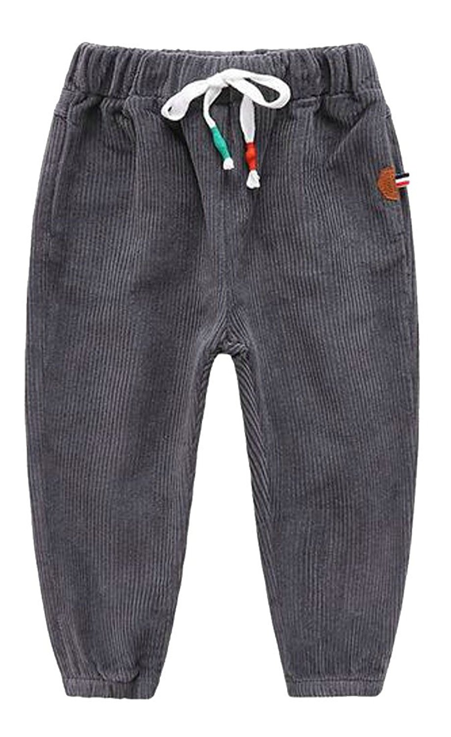 4a562ebaa884 Get Quotations · Cromoncent Boys  Winter Corduroy Elastic Waist Drawstring  Joggers Pants Dark Grey 6T