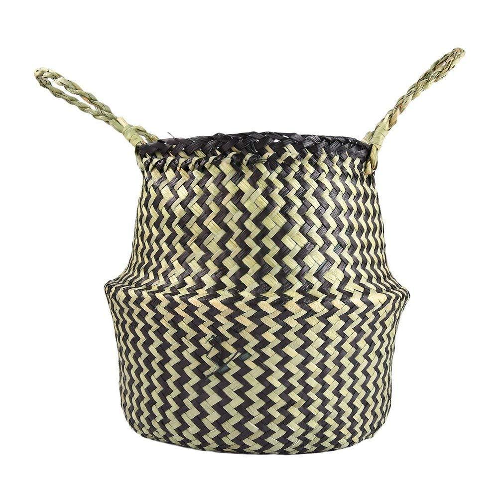 YCDC s Seagrass Woven Tote Belly Basket Home Planter, Handmade Decorative Flowerpot, Garden Pot Craft Large Seagrass Tote Belly Basket Foldable Toy Storage Organizer Home Planter