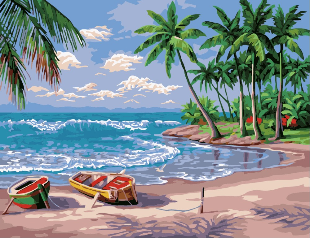 """Beach View"" DIY Acrylic Paint Kit Oil Coloring Painting"