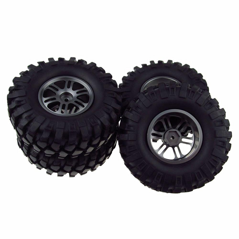 4PCS 1/10 Scale Racing Climbing 108mm RC Car Tyre Tires & Aluminum Wheels 12 Spoke Grey