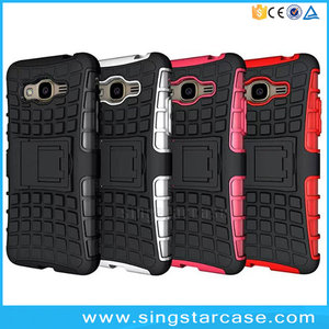 PC TPU hybrid rugged shockproof stand case for samsung galaxy j2 prime back cover