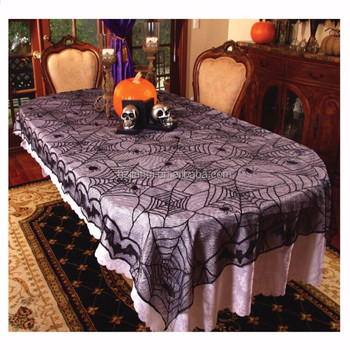 Halloween Costumes Black Spider Web And Bat Lace Tablecloths 48x96 Inch  Table Covers