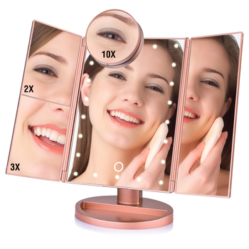 Tabelle Desktop Make-Up 1X/2X/3X/10X Vergrößerungs Spiegel Folding Einstellbare Spiegel LED Touchscreen 22 Licht make-up Spiegel