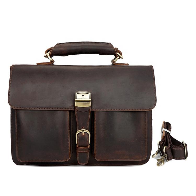 98ba8ba24e3c ... кожаная сумка мужская темно-коричневый кожаный портфель. 0 заказов.  Высокое качество коричневый Tote плеча бизнес ноутбук для мужчин кожаный  портфель