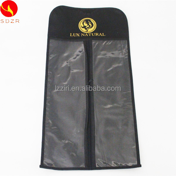 clear <strong>plastic</strong> and non woven silk bag wig hair extension packaging bags with hanger for hair