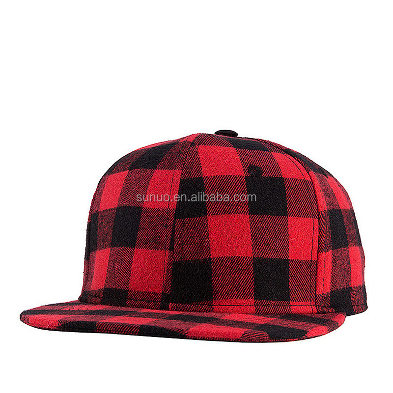 2017 Straight Brim Hip Hop Snapback Caps Men Women Summer Winter Snapback Baseball Hat Red And Black Plaid Bones