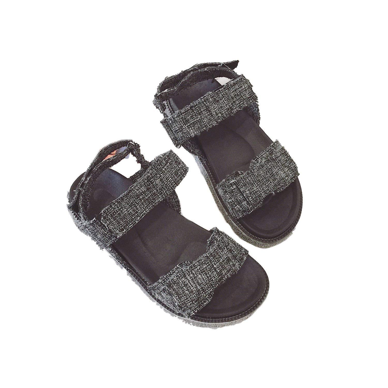 f47eb579f8b Get Quotations · Flat Sandals Summer 2018 Students Open Toe Casual Wild  Roman Sandals Flat Heels Linen Shoes Women