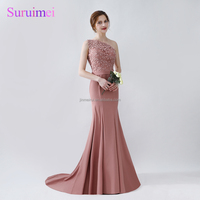 2018 New Sexy One shoulder Mermaid Evening Dresses Vestido Longo Light Pink Lace Evening Prom Dress Alibaba China wholesaler