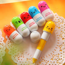 cheap pill shape pen , promotional pill pen , short caroon ballpoint pen