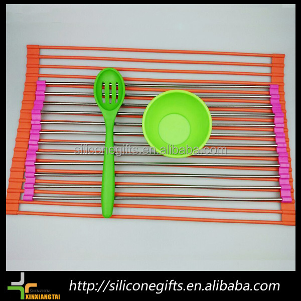 rolled up silicone and 304 stainless steel folding dish rack