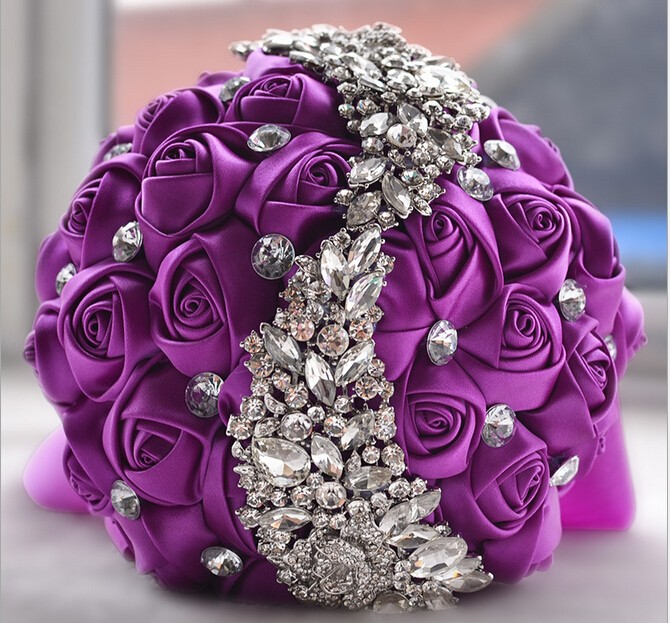 Names Of Purple Flowers For Wedding: Ivory Pink Purple Hand Made Elegant Decorative Artificial