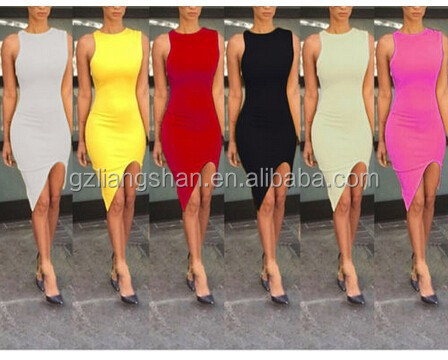 OEM Sexy Women's Summer Bodycon Formal Evening Party Cocktail Short Mini Slit Tank Dress