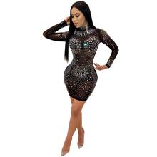 Delle donne di Strass Scintillanti Stretch Mini Club Bodycon Del <span class=keywords><strong>Cocktail</strong></span> Abiti