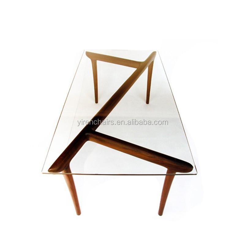 vidrio tapa de madera mesa de mesa de comedor muebles para el hogar