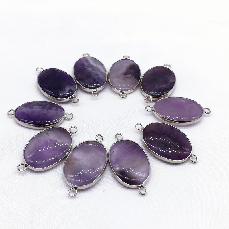 Nature stone Necklace Pendant Rose Quartz Amethyst Tiger eye Metal rimmed pendant Charms Gift 100% Nature Pink Purple