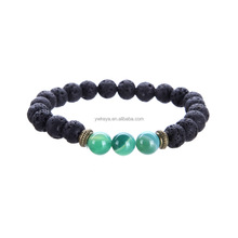 Naturel 8mm <span class=keywords><strong>pierre</strong></span> de lave noire <span class=keywords><strong>bracelet</strong></span> avec <span class=keywords><strong>perles</strong></span> colorées <span class=keywords><strong>pierre</strong></span>