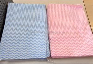 disposable wave pattern household non woven kitchen dish cloth by spunlaced rayon polyester material