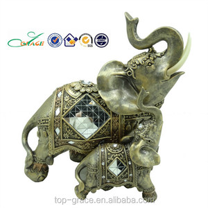 Polyresin animal decoration, gold elephant