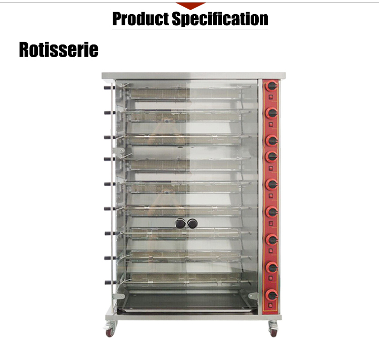 Electric Rotating Gas Chicken Rotisserie for Roasting 45 Whole Chicken