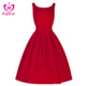 Explosion-style retro Hepburn wind 50s waist was thin dress explosion models red designer one piece party dress