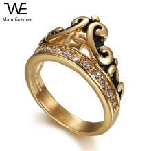 18K Gold Plating Stainless Steel Inlay Diamond Number Headband Polishing Flower Ring Jewely