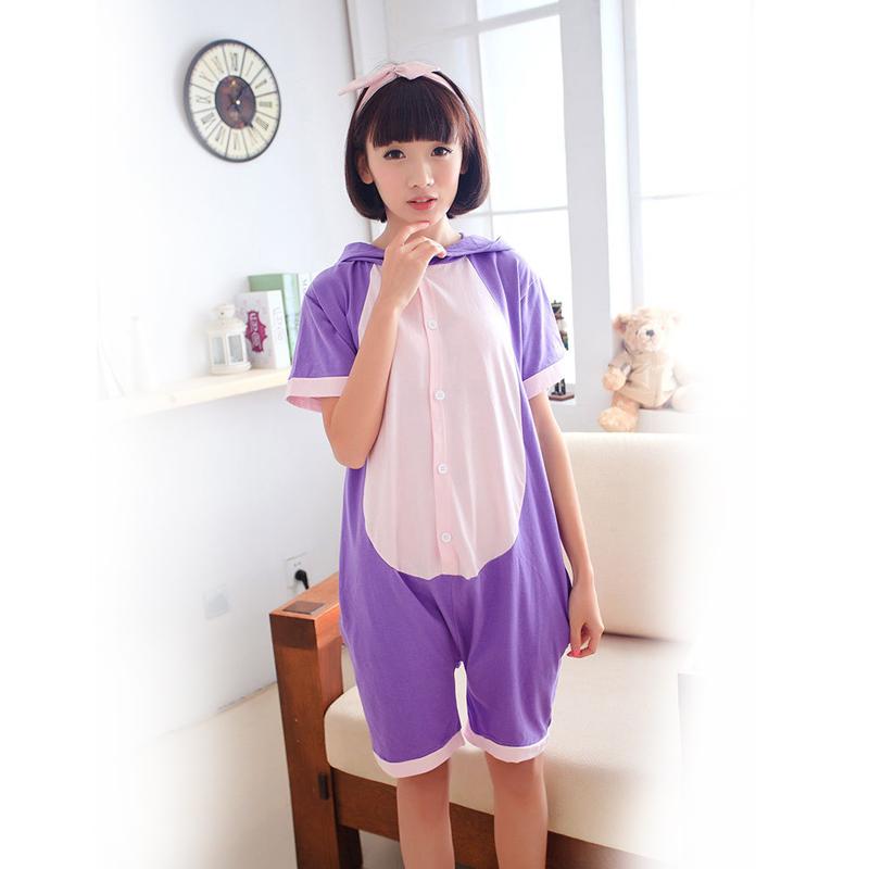 137db7e5e3 Get Quotations · Summer Unisex Adult Onesie 95% Cotton Cartoon Purple Cat  Pajamas Onesie Cosplay Costume Animal Sleepwear