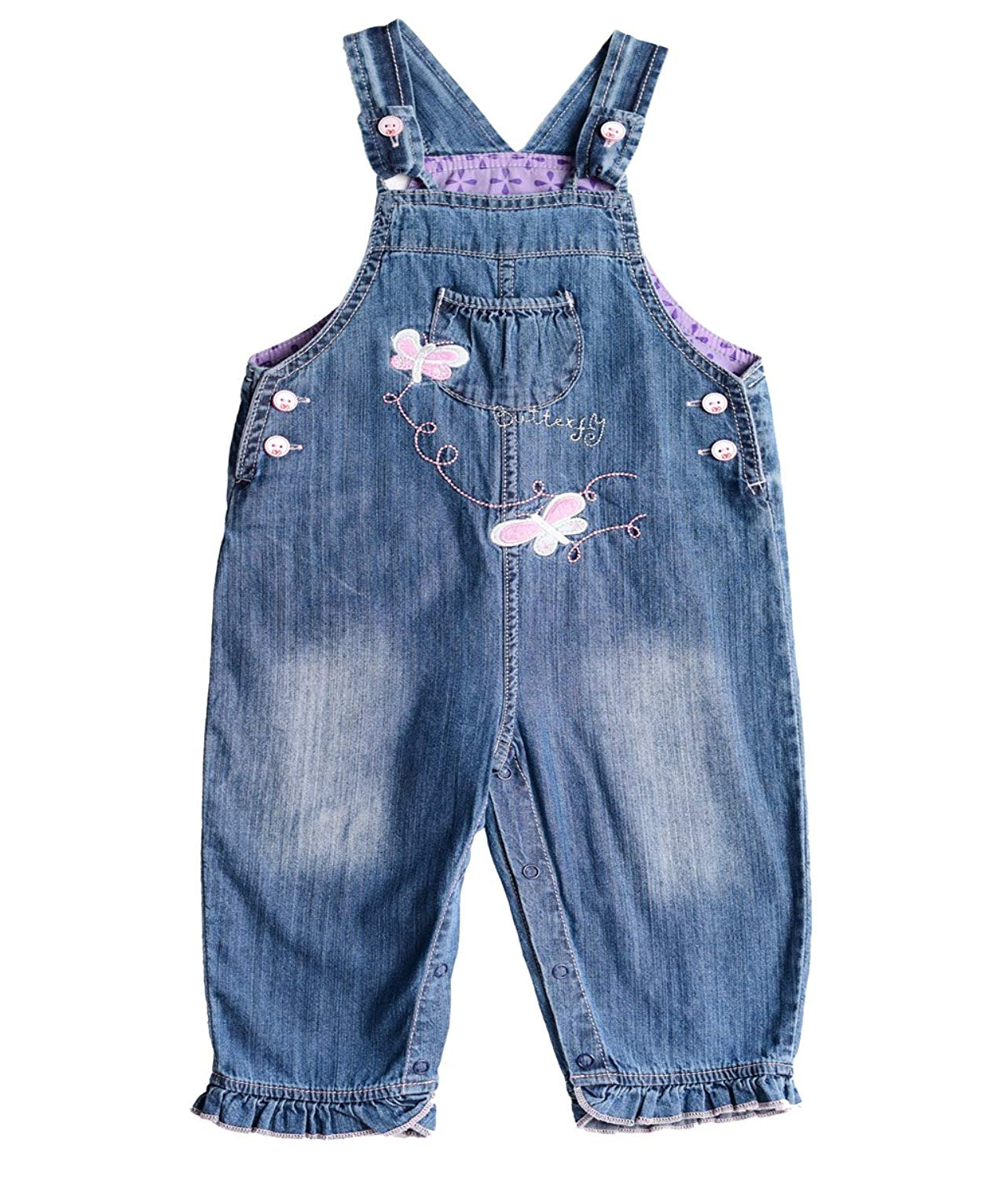 b6a3a28723b5 Get Quotations · ZL MAGIC Baby   Little Girls Embroidery Soft Bib Denim  Overalls Washed Jumpsuits Jeans