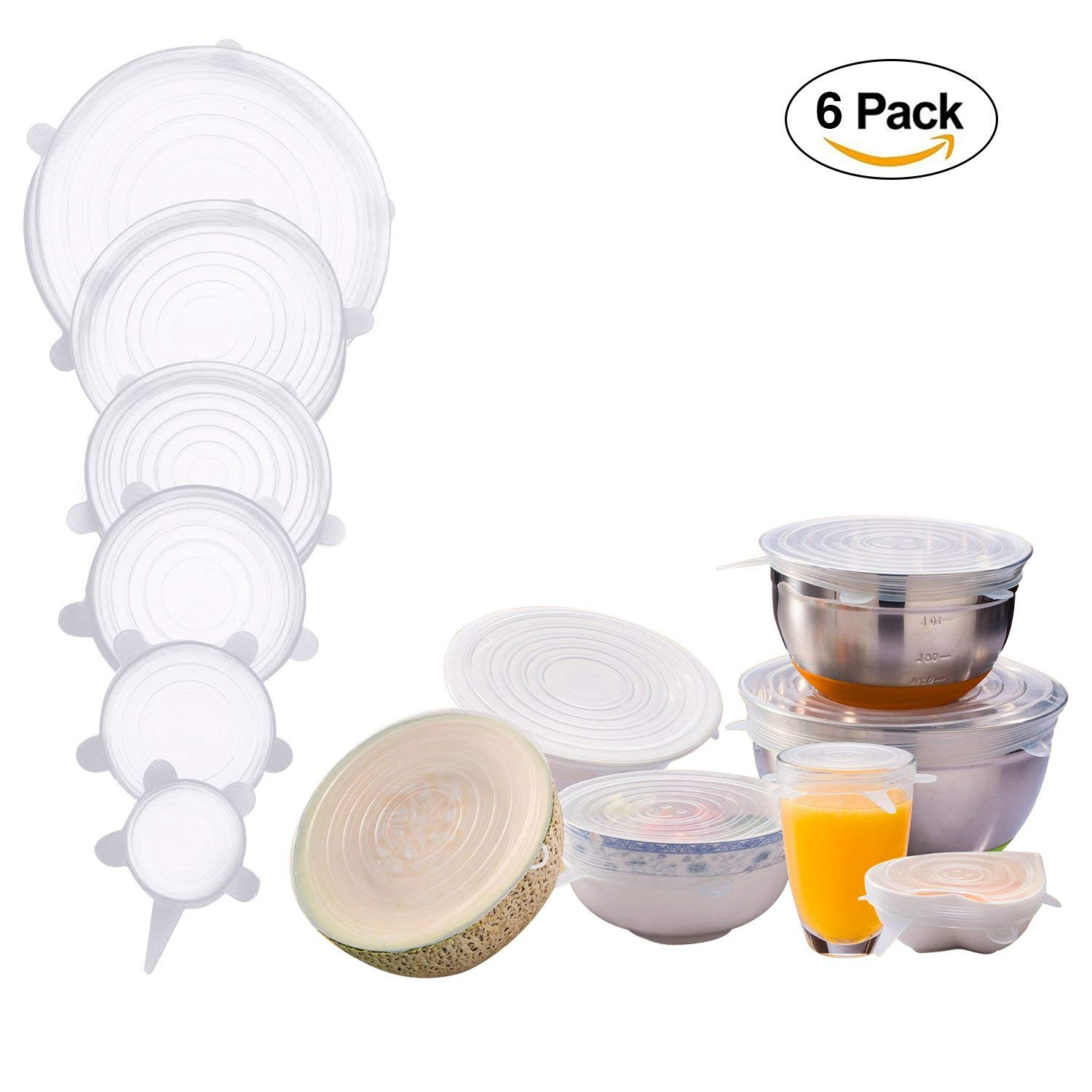 Silicone Stretch Lids, 6 Pack Reusable and Durable Flexible Silicone Sealing Food Saving Fresh-keeping Cover(2 Sets,Transparent color)