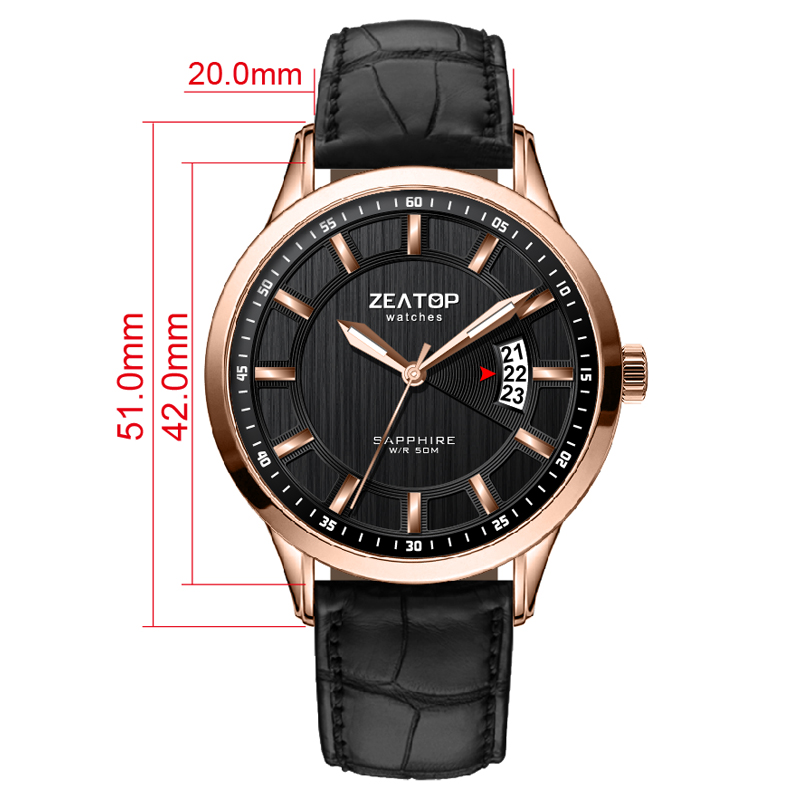 Waterproof Quality Leather Band Mens Watch with Date