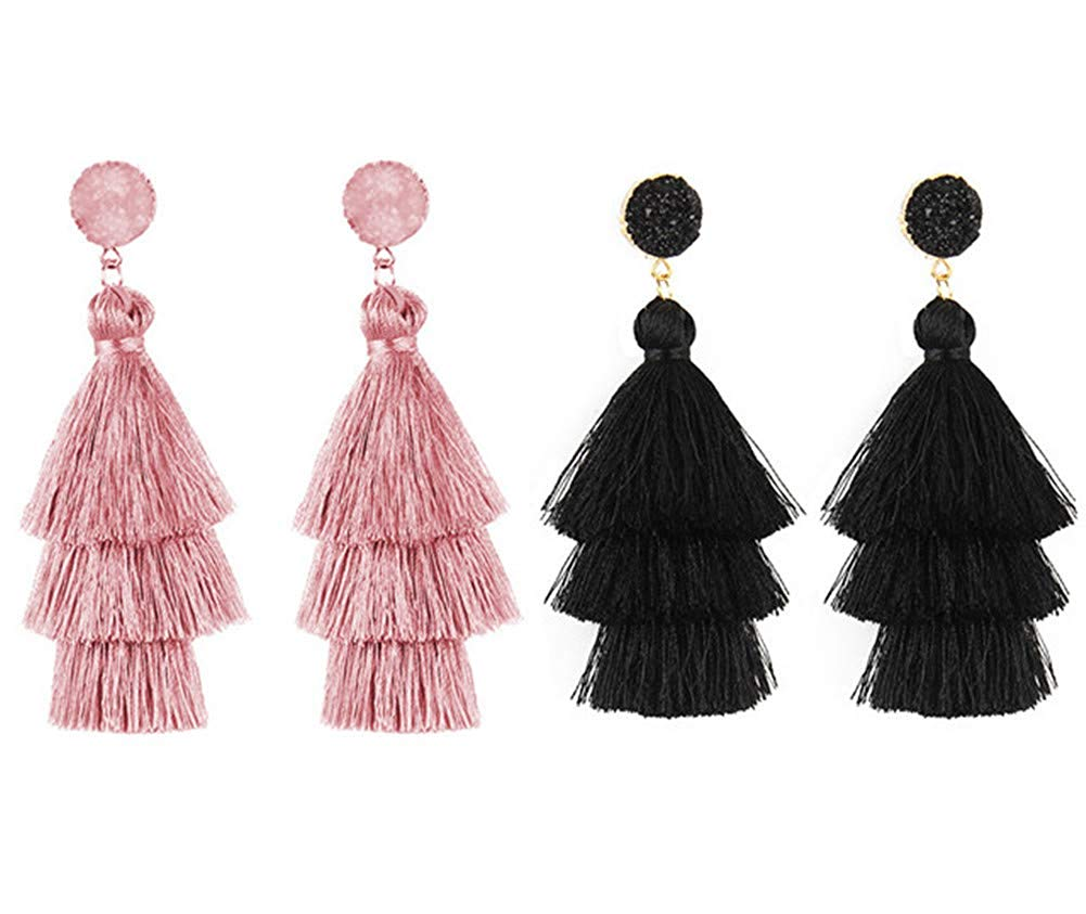 LF 2 Pairs Womens Girls Multicolor Tassel Earrings,Handmade 3 Tiered Exotic Statement Tassel Dangle Drop Earrings Hypoallergenic Bohemian for Girlfriend,Wife,Mom,Daughter,Sister Gift,Pack of 2