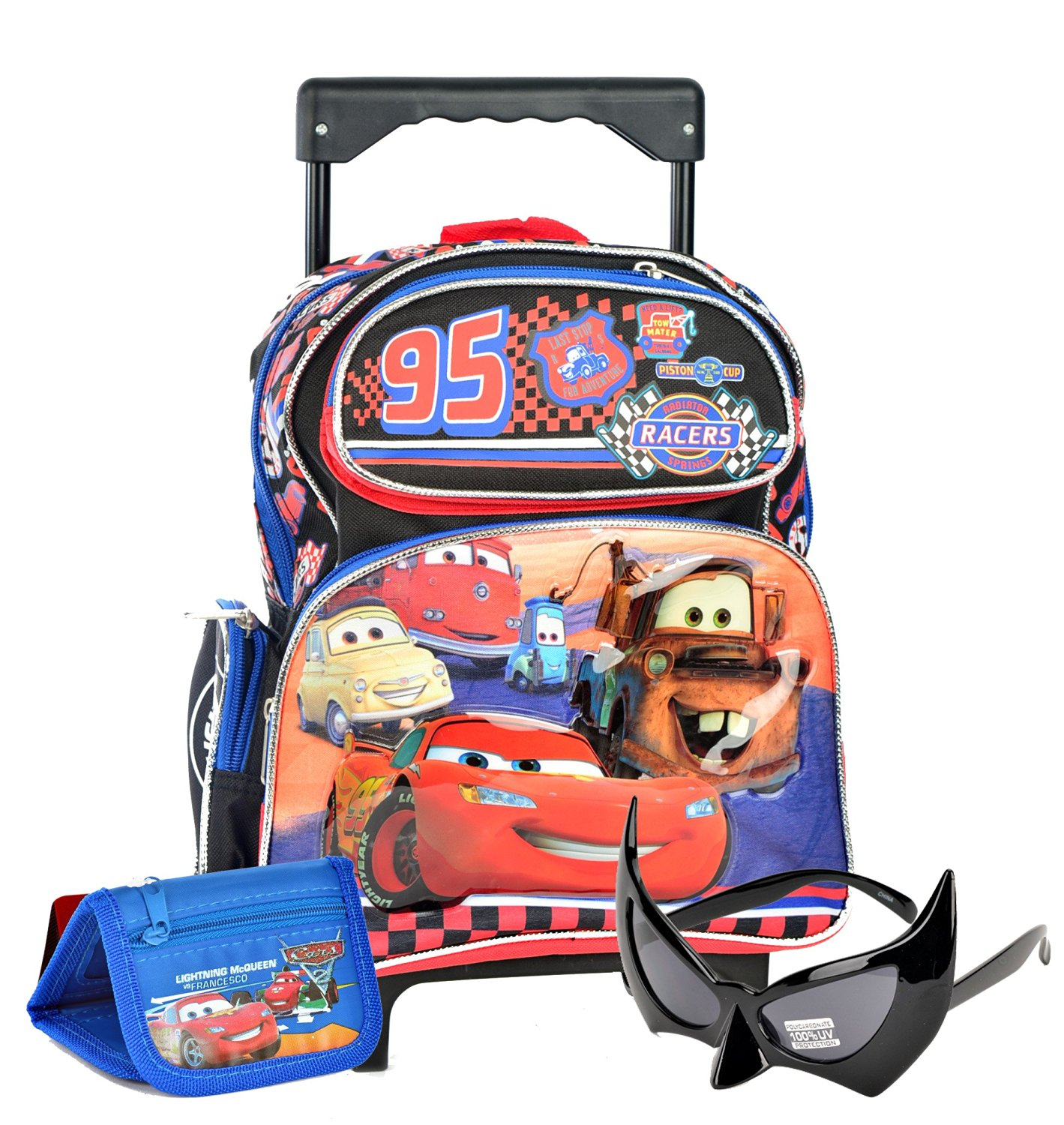 Get Quotations · Lightning McQueen Cas Toddler Rolling Backpack and Bonus  Cars Reusable Sandwich Bag Set f63fb3dcd856c