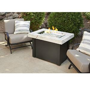 Outdoor Great Room Providence Crystal Fire Pit Table with White Onyx Marbelized Top and Black Metal Base