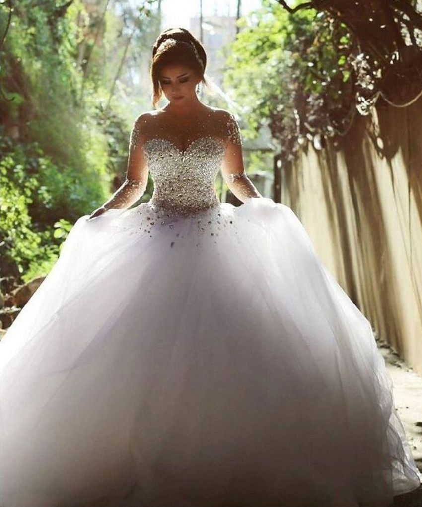 Pictures Of Ball Gown Wedding Dresses: Aliexpress.com : Buy Elegant Luxury Bride Long Sleeve Ball