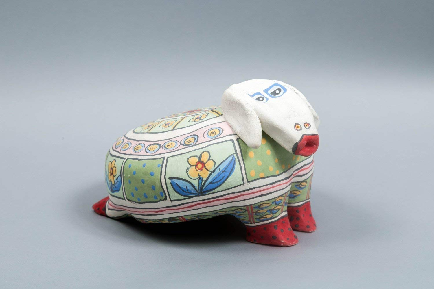Artisan Handmade Ceramic Animal Statue, Colorful Cute Spring Sheep Figurine, Funny Outdoor and Indoor Sculpture Ornament Decor for Garden and Home