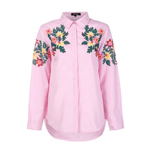 2017 Autumn Womens New Style Striped Turn-Down Collar Printed Copy Embroidered Long-Sleeved Shirt