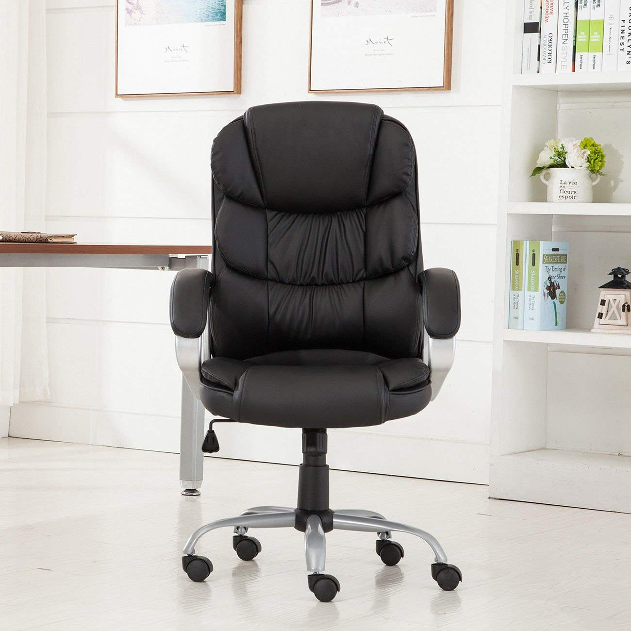 "GHP 24""x24""x43"" 330-Lbs Capacity Black PU Leather High Back Executive Office Chair"