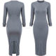 OEM Korean Designer Casual Style Female Dresses Plain High Street Fashionable Long Sleeve Round Neck Pencil Dress