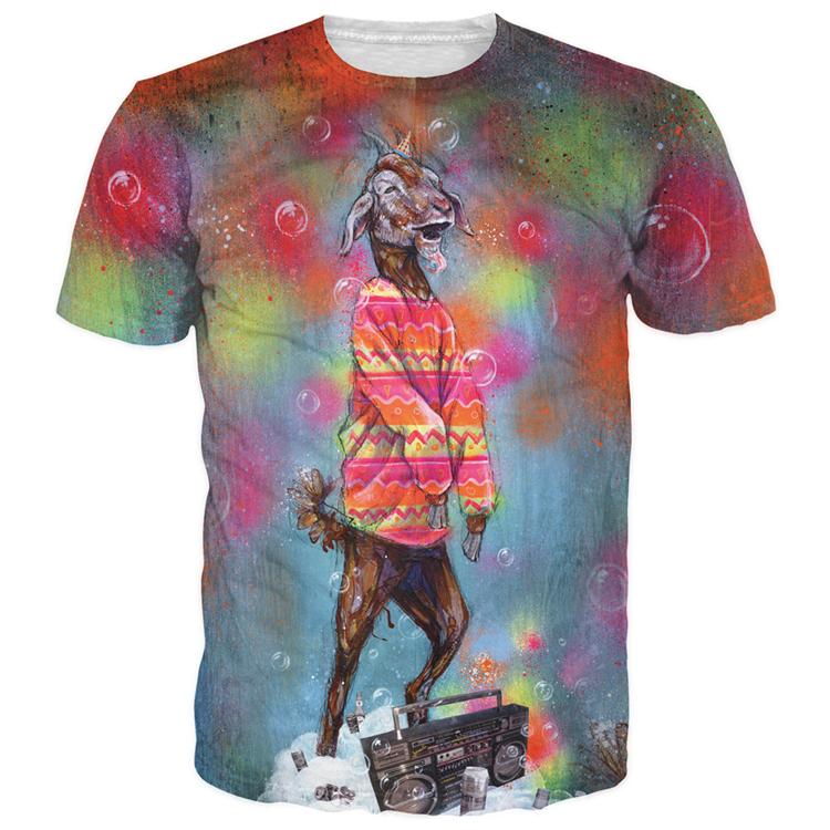 c0c73d7b Get Quotations · Women/men super trippy Party Goat tie dyed 3d t shirt tee  billy goat hipster