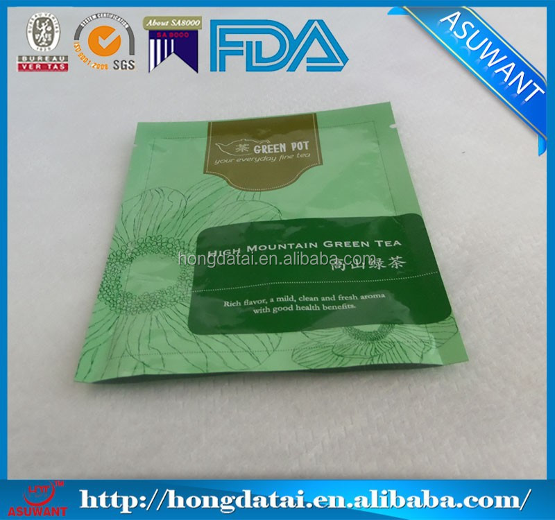 one time using plastic three side seal tea bag