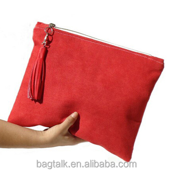 ceb10c46e36c3 Hd0237 China Manufacturer Women Red Large Suede Clutch Bag ...