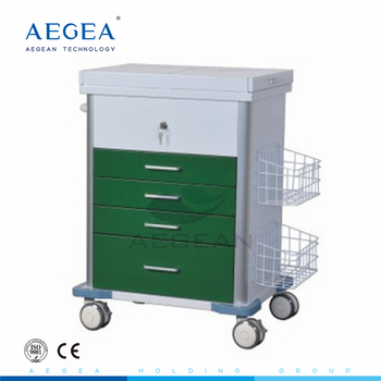 AG-GS008 With central locking metal frame hospital emergency cart trolley