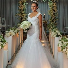 ON216 Fashion Design Arabo Abiti Da Sposa Elegante Giulietta Scollo Appliqued Innamorato Del Merletto Sheer Indietro Abito Da Sposa Mermaid