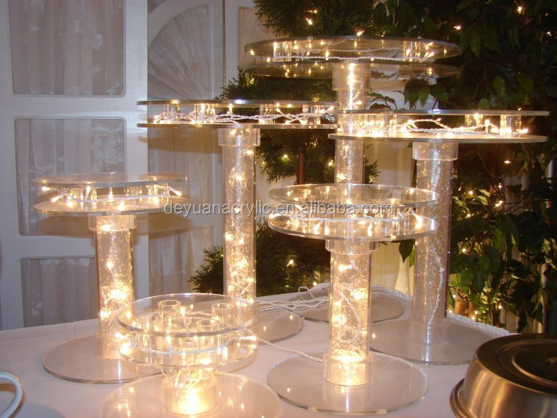 Custom Acrylic Cake Stands with LED Lights Dessert Cupcake Tower Display