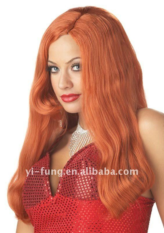 Womens HOT Jessica Rabbit Long SEXY Costume RED Wig