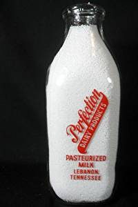 Vintage Perfection Dairy Products Lebanon Tennessee Pasteurized Milk One Quart Square Glass Bottle