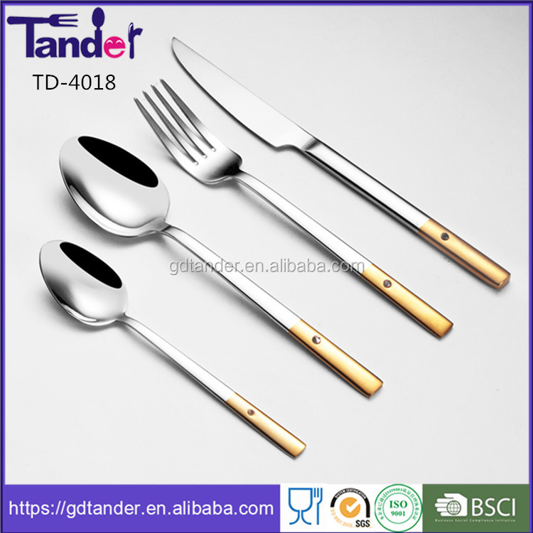 Tander noble golden cutlery sets diamond cutlery set of 72pcs