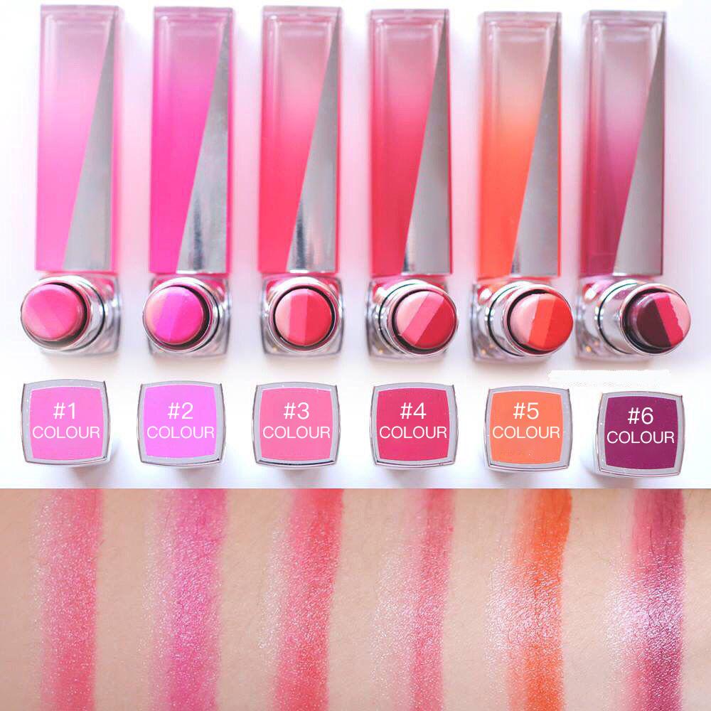New Lip Stick Gradient Color Effect Trio Liner Glossy Lipstick