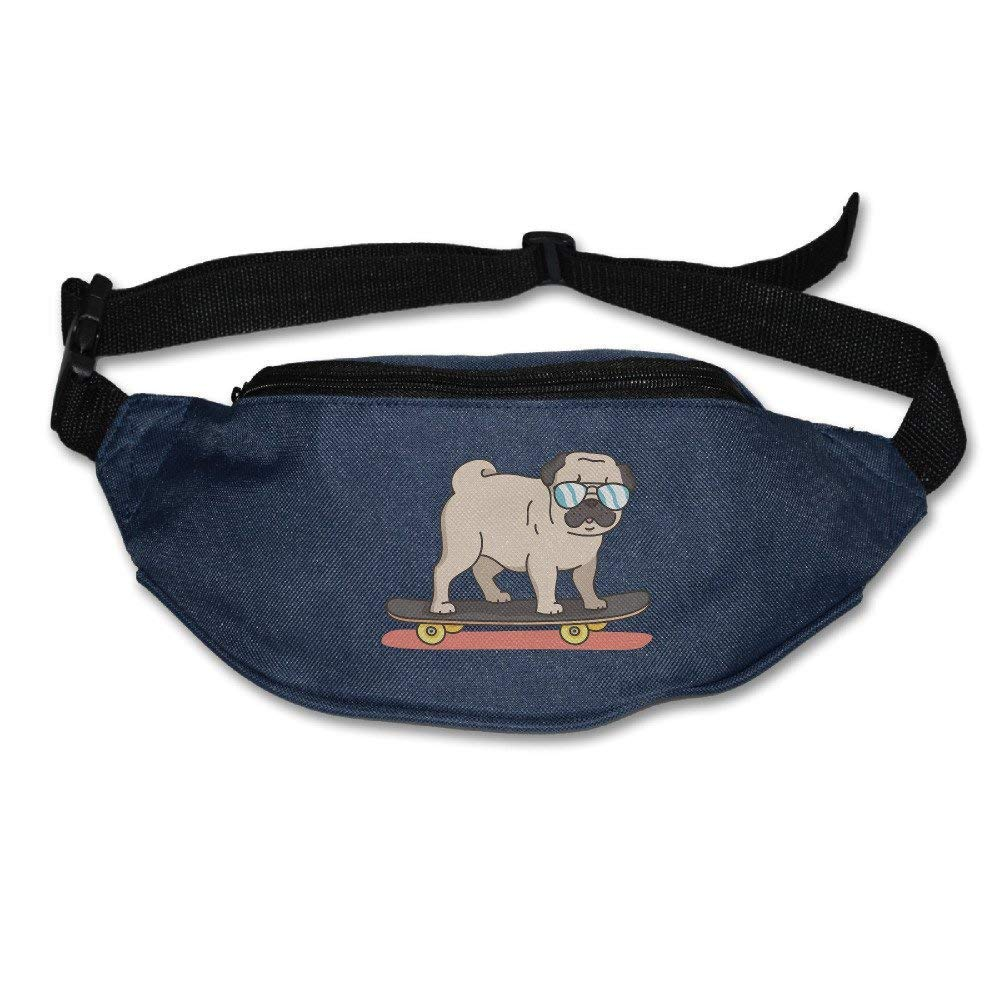 Unisex Pockets Cool Pug Fanny Pack Waist Packs Phone Holder Adjustable Running Belt For Cycling,Hiking,Gym