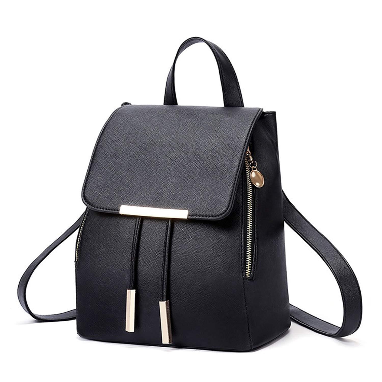OULII Fashion Shoulder Bag PU Leather Women Girls Ladies Backpack Travel Bag (Black)