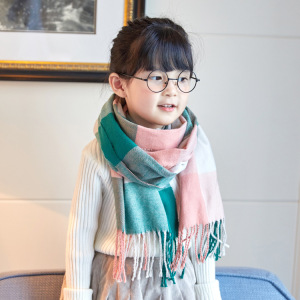 European Fashion Cashmere Scarf Autumn Winter Plain Grid Soft Fringe Comfortable Children Scarf